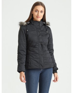 Women Quilted Puffer  Jacket Black