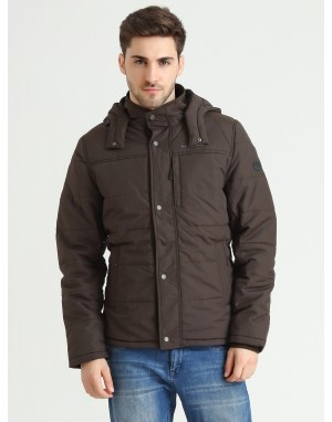 Men  Quilted Puffer  Jacket  With Fleece linning  Coffee