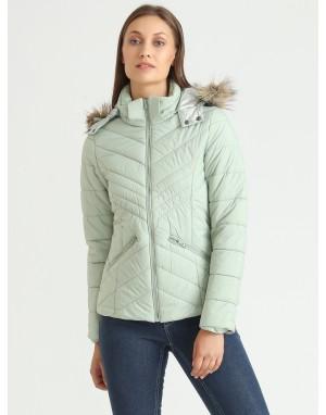 Women Puffer Hooded Jacket Mint