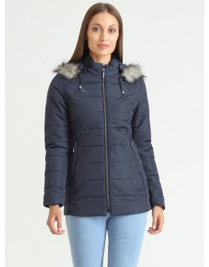 Women Quilted Puffer  Jacket Navy