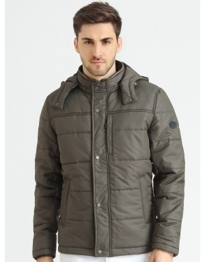 Men  Quilted Puffer  Jacket  With Fleece linning  Olive