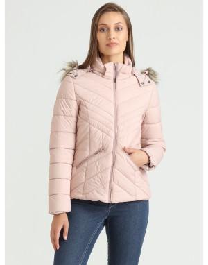 Women Puffer Hooded Jacket Pink